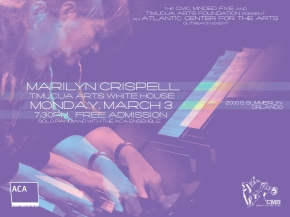 Poster art for Marilyn Crispell at Timucua white house- Monday, March 3rd