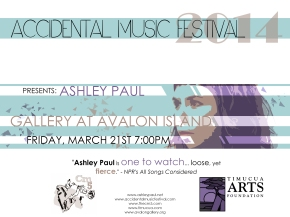 Poster art for Ashley Paul at The Gallery At Avalon Island- Friday, March 21st