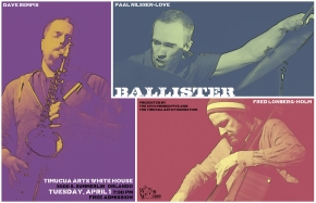 Poster art for Ballister at Timucua white house- Tuesday, April 1st