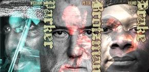 Poster art for Brötzmann/Drake/Parker at Timucua white house- Sunday, June1st