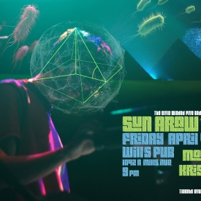 Poster art for Sun Araw Band at Will's Pub- Friday, April 4th