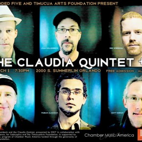 Poster art for Claudia Quintet +1 at Timucua white house- Sunday, March 1st