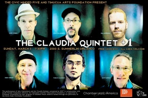 Poster art for Claudia Quintet +1 at Timucua white house- Sunday, March1st