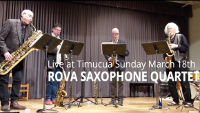 Video advert and poster: ROVA Saxophone Quartet/100th cm5 concert