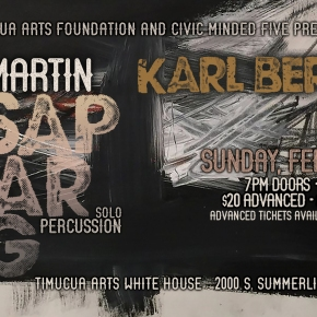 New Poster, Date, Venue: Billy Martin Solo Percussion plus Karl Berger And Friends- Sunday, February 17th at Timucua Arts