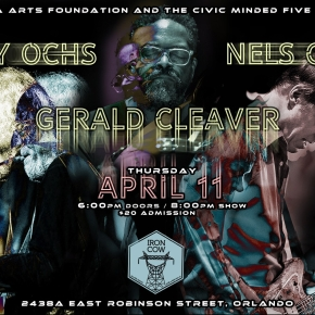 Poster Art: Nels Cline/Larry Ochs/Gerald Cleaver- Thursday, April 11th at Iron Cow Cafe